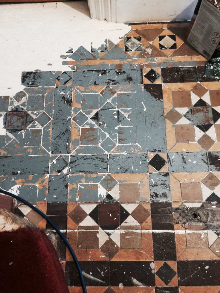 Victorian tiles east surrey tile doctor victorian floor restoration putney during paint removal doublecrazyfo Gallery