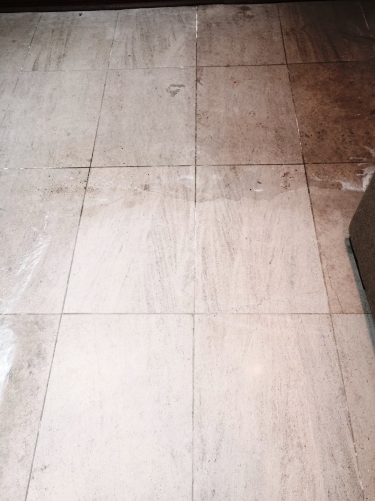Limestone Floor During Cleaning Wandsworth