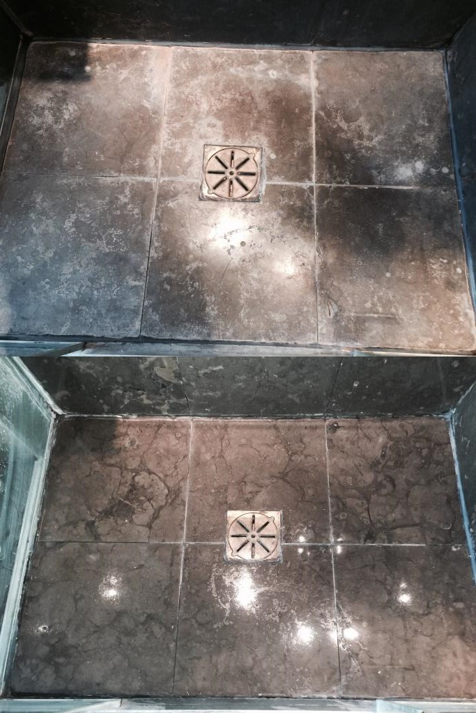 Limestone Shower Tiles Before and After Cleaning Wandsworth