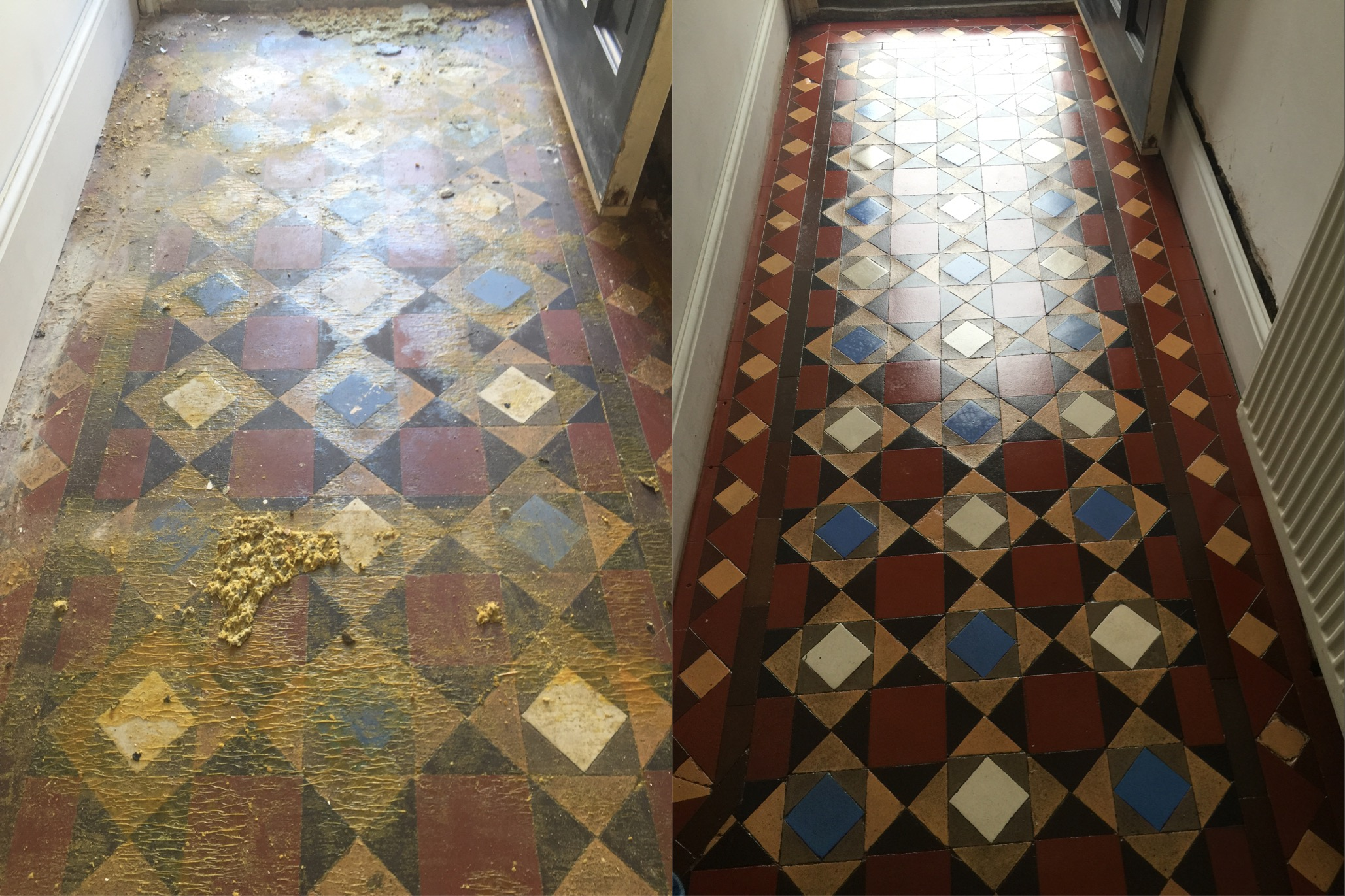 Victorian Tiled Hallway Before and After Restoration Fulham
