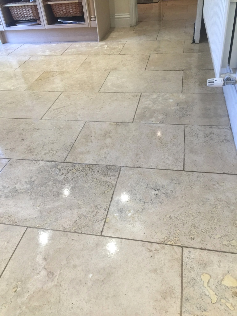 Renovating Cracked and Dirty Travertine Kitchen Floor in ...