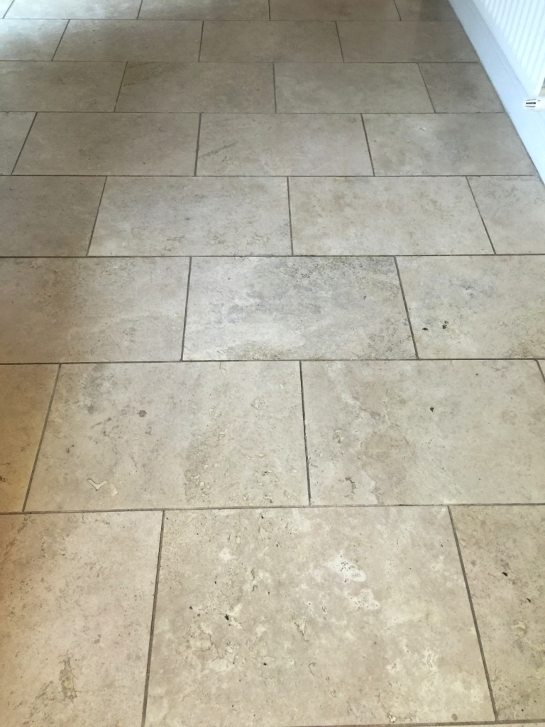 Travertine Kitchen Floor Before Cleaning Sanderstead