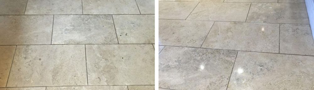 Renovating Travertine Kitchen Floor Tiles in Sanderstead