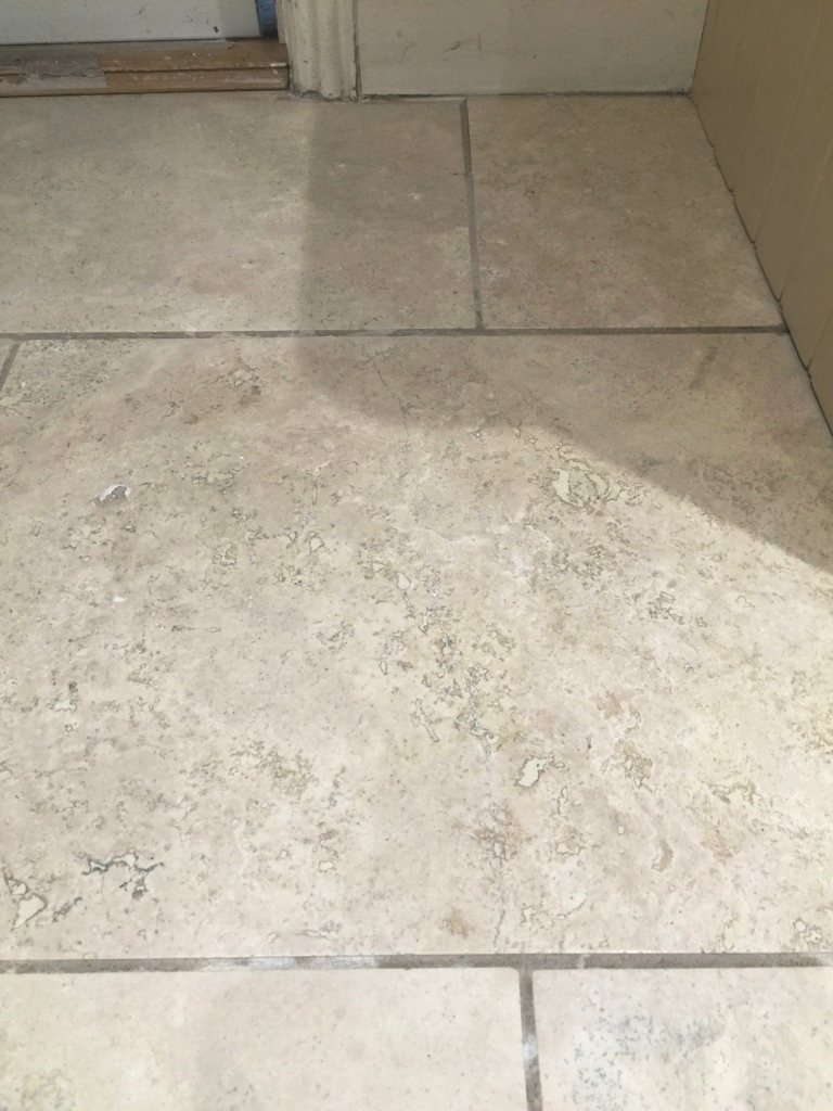 Travertine Kitchen Floor Cracked Tile After Repair Sanderstead