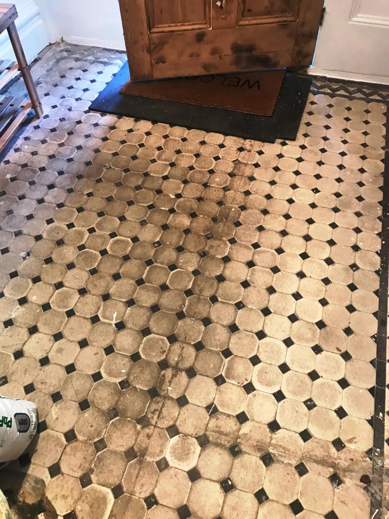 Victorian Tiled Hallway Before Restoration Brixton