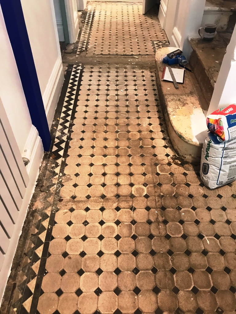 Victorian Tiled Hallway Before Restoration Brixton