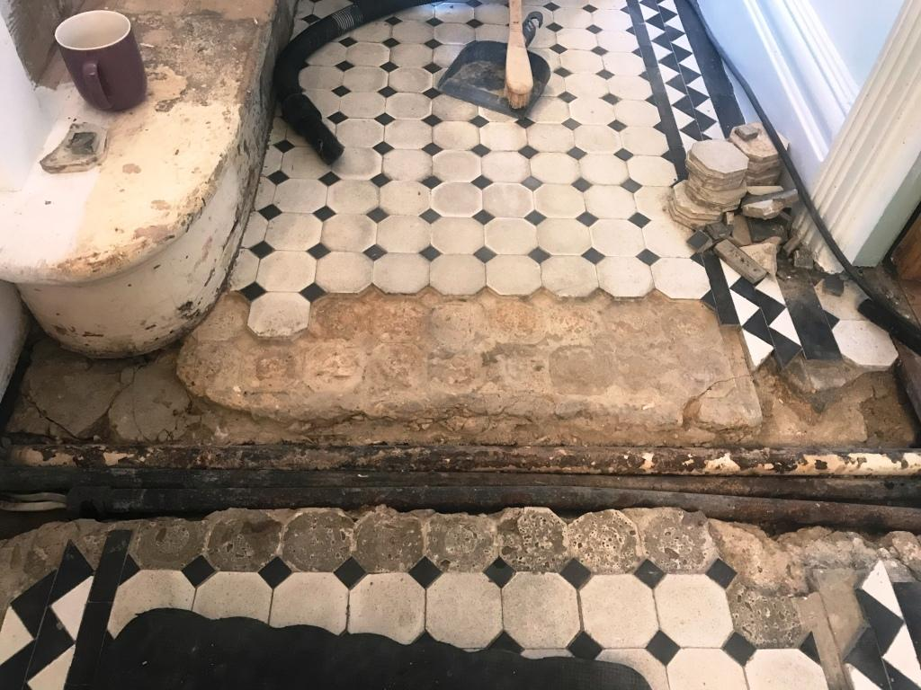 Victorian Tiled Hallway During Restoration