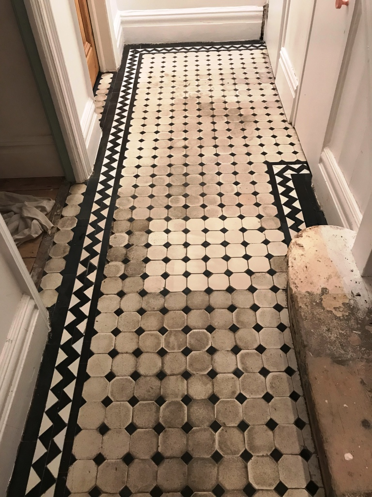 Victorian Tiled Hallway During Restoration Brixton