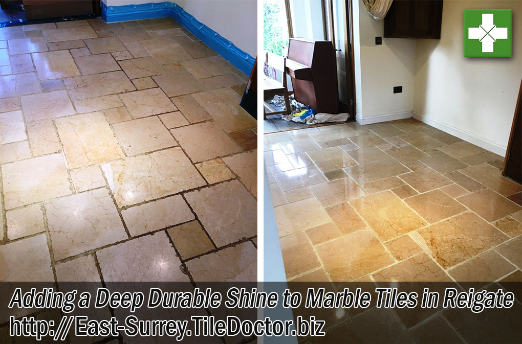 Marble Tiled Floor Before After Polishing Reigate East Surrey