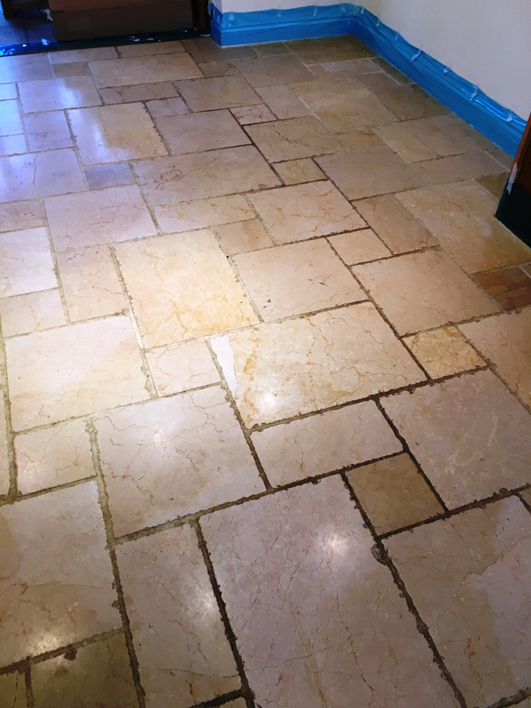 Marble Tiled Floor Before Polishing Reigate