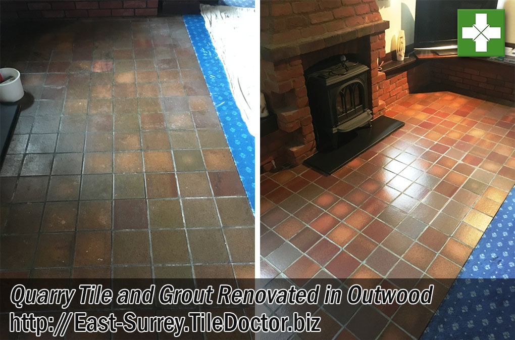 Quarry Tile Floor Before After Cleaning Outwood East Surrey