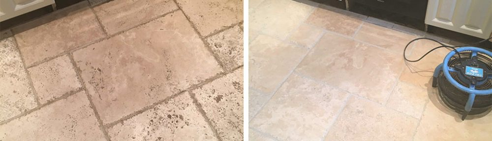 Tumbled Travertine Kitchen Tiles Rejuvenated in Godstone