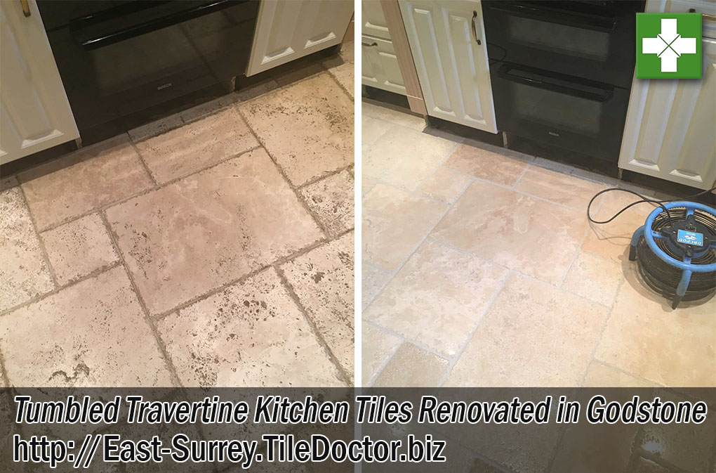 Tumbled Travertine Tiled Kitchen Tiles Before After Cleaning Godstone