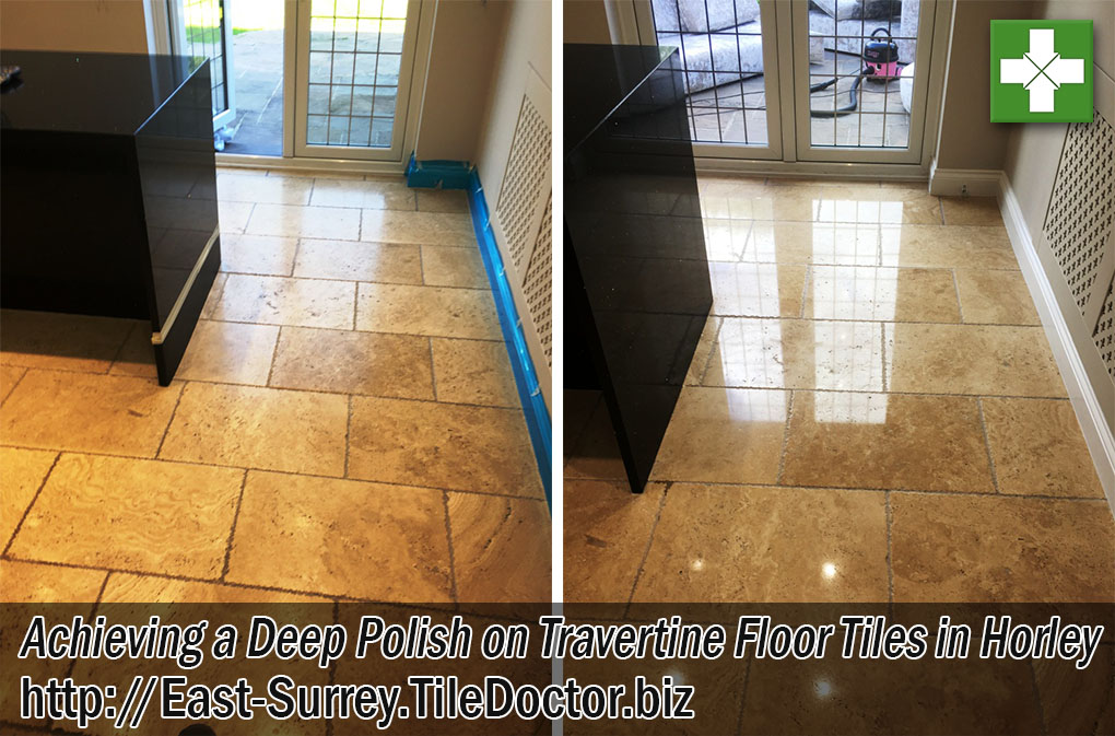 Tumbled Travertine Tiled Hallway Floor Before After Polishing Horley