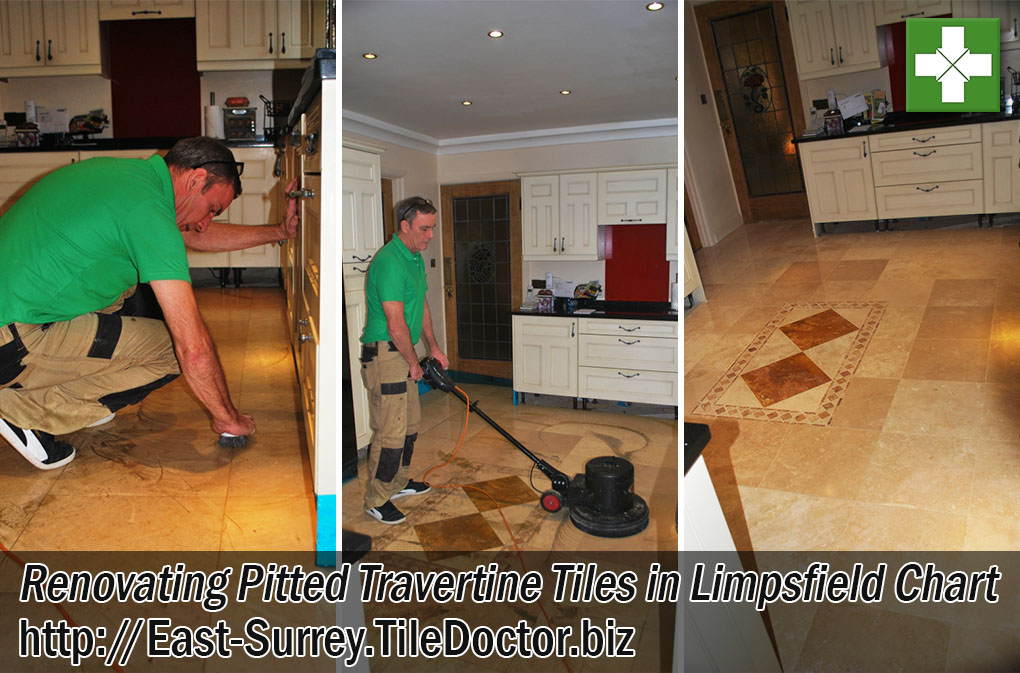 Pitted Travertine Tiled Kitchen Floor Before After Polishing Limpsfield Chart