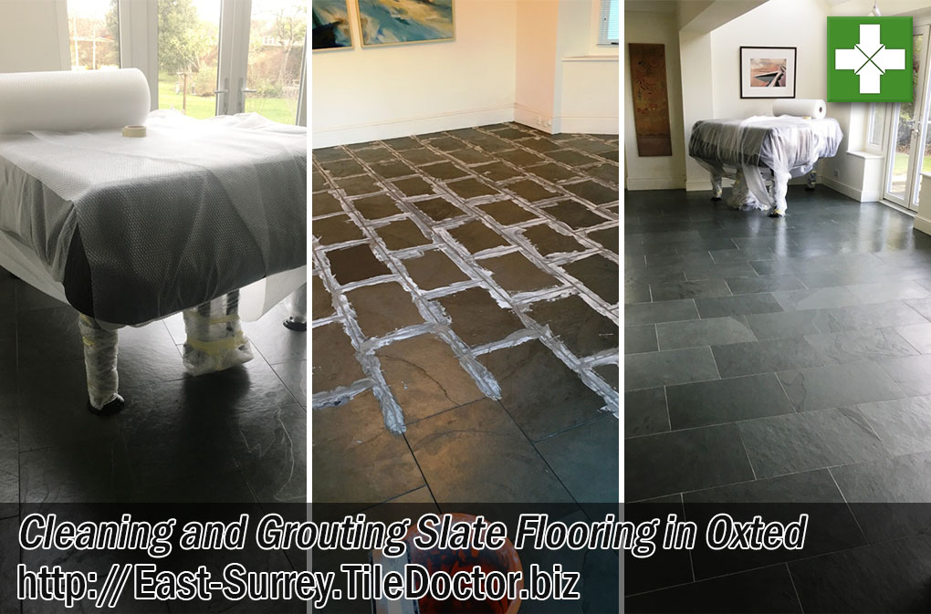 Large Slate Tiled Floor Before After Grouting Oxted