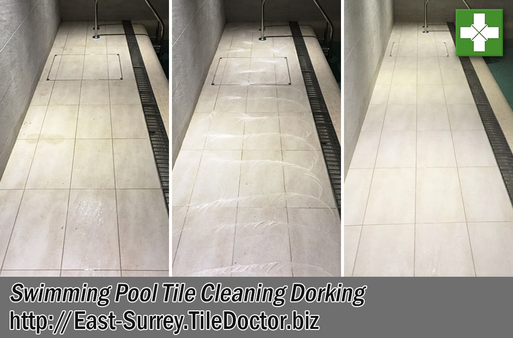 Textured Porcelain Swimming Pool Tiles Before After Cleaning Dorking