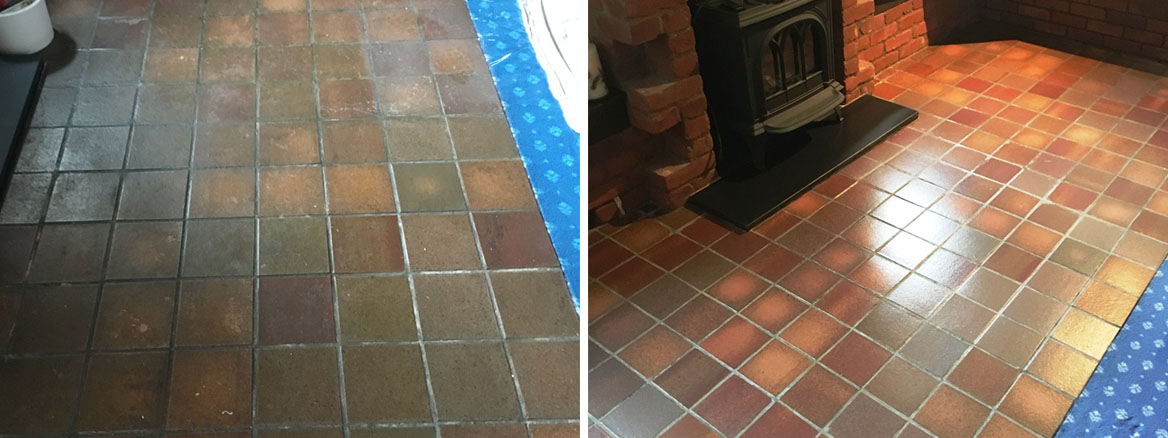 Quarry Tiled Floor Before and After Renovation in Outwood