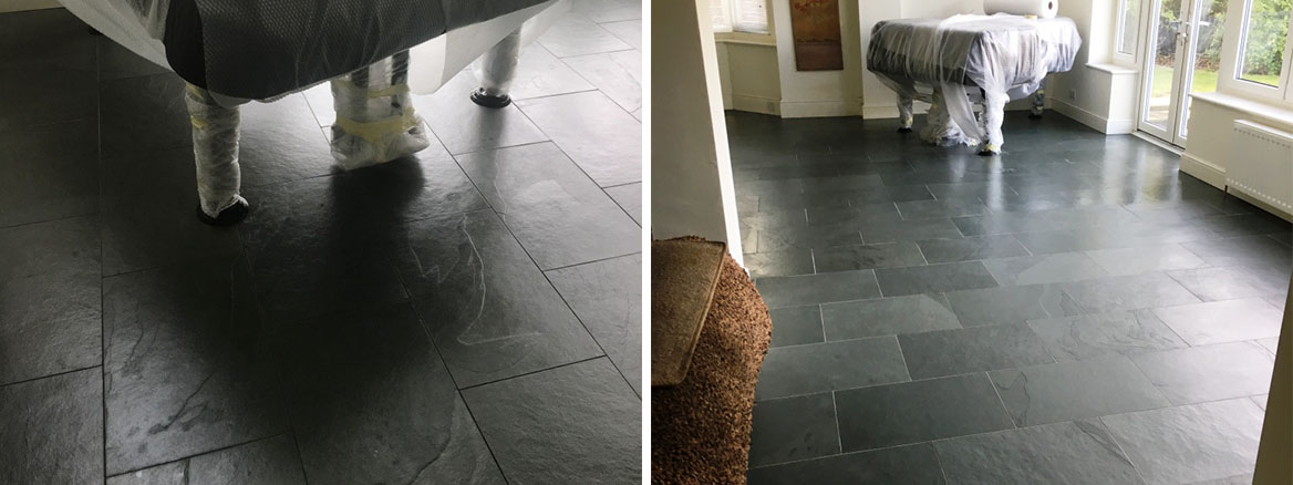 Slate Tiled Floor Oxted Before and After Renovation