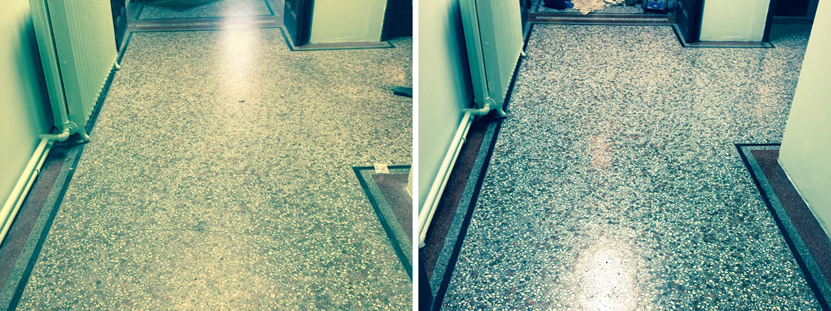 Terrazzo Flooring Redhill Church Before and After Restoration