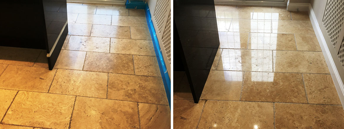 Tumbled Travertine Floor Horley Before and After Polishing