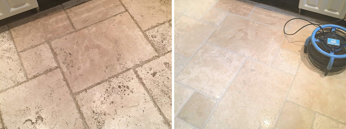 Tumbled Travertine Kitchen Floor Before and After Cleaning Godstone