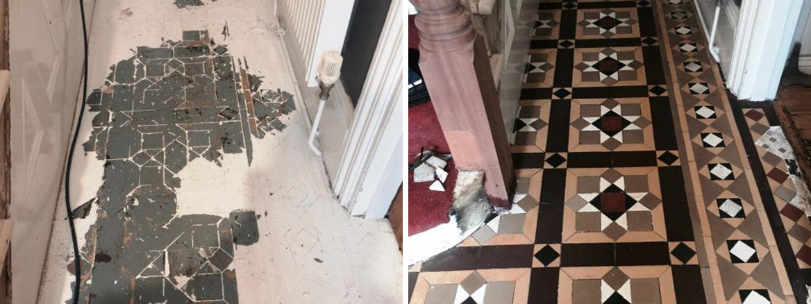 Victorian Tiled Floor Covered by Paint Restored to New in Putney